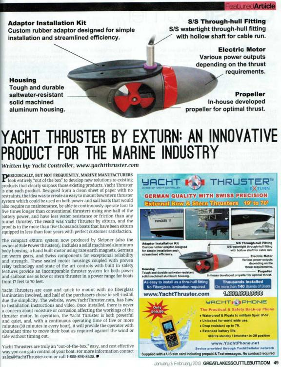 Yacht Thruster featured in Great Lakes Scuttlebutt